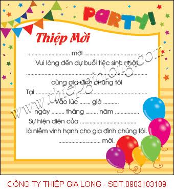 Thiệp mời sinh nhật theo tuổi