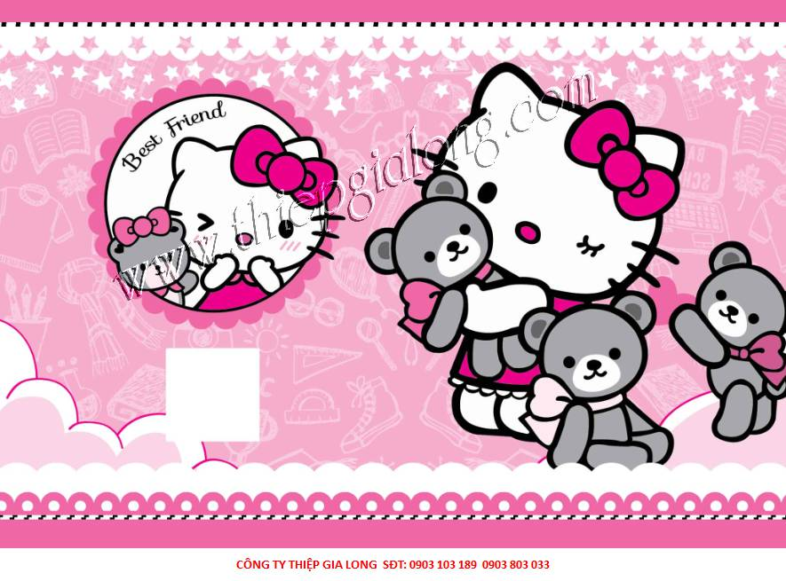 Bao sách nylon in hình hello kitty BT-755